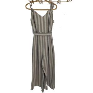 City Chic Plus Size Small Beige Oatmeal Stripe Jumpsuit Party Linen Blend