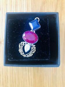 Sapphire, Ruby, Pearl, Gold & Silver Bespoke Pendant