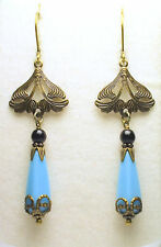 Art Nouveau Art Deco Vintage Style Czech Blue Turquoise Glass Earrings