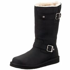 UGG® AUSTRALIA KENSINGTON BLACK LEATHER & SHEEPSKIN BOOTS UK 3.5 EUR 36 RRP £240