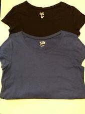 Justice Girls Size 16 Plus Solid Black And Royal Blue T- Shirts