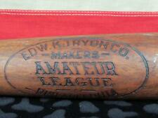 "Vintage 1910s Edw.K.Tryon Co.Wood 'Amateur League' Baseball Bat 33"" Antique"