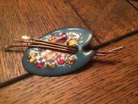 Vintage Matisse Renoir Copper Blue Multi Color Enamel Paint Palette Pin Brooch