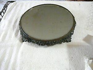 "Antique Cast Iron Victorian Ornate Table Vanity Round Mirror 13 1/2"" x 13 1/2"""