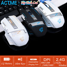 Rechargeable - 2.4GHz Cordless 6 Keys Usb Ergonomic Optical Laser Gaming Mouse