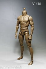 1/6 Male Body Strong Muscle Dark Brown Skin 12'' Man Figure Toy Changeable Hands