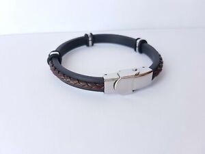 Bracelet, genuine leather, stainless steel. girth 18 cm. (7 mm)