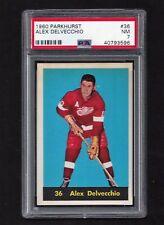 1960 Parkhurst #36 Alex Delvecchio HOF, PSA 7 NM, Vintage Red Wings NHL 1960-61