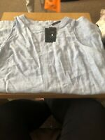 M&S Collection Chambray Blue Linen Blend Shift Dress Size 20