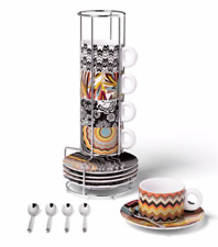 Missoni for Target Stoneware Stacking Espresso Set with Spoons Cups / Mugs