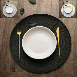 4 Pack of Round Dining Dinner Table Place Mat Set Weaved Non Slip Place mats kit