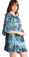 JODIFL Womens Tie Dye Retro Peasant Lace Boho Ruffles Chic Tunic Top S M L