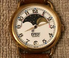 Men's Fortron Moon Phase Watch - Gold Tone/ Date/Leather Band