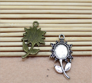 12-36p Base Setting Trays , Sunflower Necklace Pendant , Fit 10mm Round Cabochon
