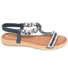 Sandalo gioiello nero basso comfort donna con memory morbidone ed elastico fasce