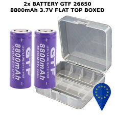 2x BATTERY GTF TR 26650 8800mAh 20A BATTERIA FLAT TOP LITHIUM BOXED RECHARGEABLE