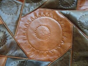 ANOTHER VINTAGE HANDMADE MOROCCAN LEATHER POUFFE FOOTSTOOL STOOL UNIQUE