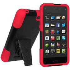 AMZER Black on Red DOUBLE LAYER HYBRID KICKSTAND CASE FOR AMAZON FIRE PHONE