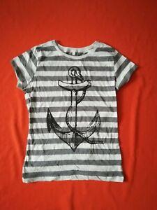 ANKER Girlie Shirt Größe L - NEU - grau gestreift