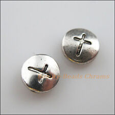 5Pcs Tibetan Silver Tone Round Cross Flat Spacer Beads Charms 10mm