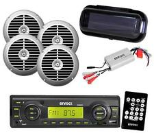 EKMRB11 New Outdoor Radio USB AUX Input w/4 Silver Speakers Marine Amp and Cover