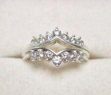 Silver Pair Ring Guards Size 6.75 Rare Qvc Diamonique Dq Cz Sterling