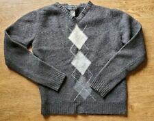Banana Republic 100% Merino Wool Gray Sweater V Neck Argyle Boys Youth Small