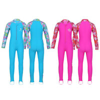 Kid Swimming Girls Swimsuit 2-12Y One Piece Rash Guard Costumes Long Sleeve