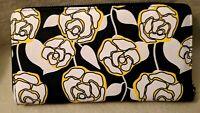 New Boxed Betsey Johnson Zip Around  Travel Wallet Wristlet Black Multi Floral