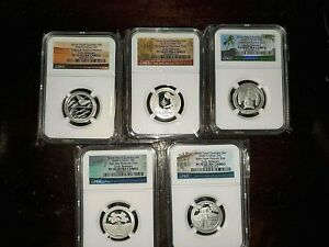 2020-S  First .999 Fine Silver Quarters Set, EARLY RELEASES, NGC PF 70 UC