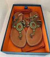 Emanuela Caruso Capri T-Strap Stones Decorated Flats Sandals Size 37 / 7US NEW