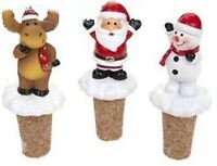 Polyresin Christmas Wine Stoppers Snowman Santa Claus Reindeer Party Bottle Cork