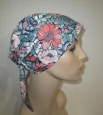 Chemo Hat Scrub  Cap Spring Flowers Hair Loss, Pediatric Scrub Cap