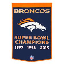 """Denver Broncos 24"""" x 36"""" Genuine Wool Super Bowl Dynasty Banner 2015 NFL"""