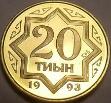 Gem Proof-Like Kazakhstan 1993 20 Tyin~1st Year For Any Coinage~Free Shipping