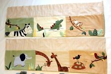 Pottery Barn Kidsline Animal Theme Nursery Set of 2 Valances 86 x 14 Embroidered