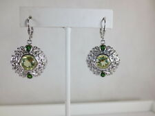 7.4ctw Round Lemon Quartz Chrm Diopside 925 Sterling Silver Drop Earrings Irrad.