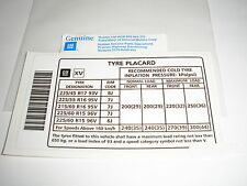 VN VP VR VS VT VX VY VZ COMMODORE TYRE PLACARD DECALS (X 2) NEW GENUINE HOLDEN