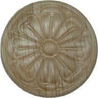 "OAK Embossed Wood Ornament 2 5/16"" Rosette   W35796"