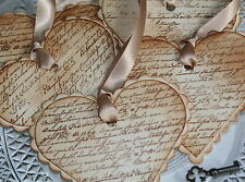 LOVE LETTER- Heart Shaped Wedding Wish Tree Tags-Valentine-French-Vintage Style