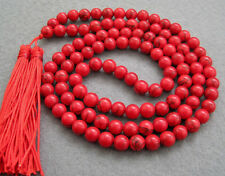 Asia tibetan 108 Red Turquoise 10mm Beads Buddhist Prayer Necklace Mala