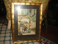 Vintage Water Color Painting Men Playing Instruments Woman Balcony Framed