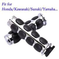 "7/8"" Motorcycle Handlebar Hand Grips Chrome 22mm For Honda CBR 600 Suzuki Yamaha"