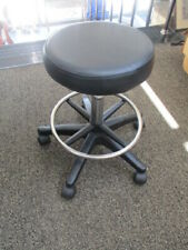 "13"" Round Seat  Rolling Hydraulic Steel Pneumatic  Stool on Wheels - Black"