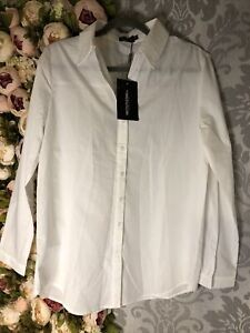 Pretty Little Thing Tall White Woven Oversized Shirt Size 8 Brand New