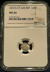 1837G CENTRAL AMERICAN REPUBLIC 1/4R MS66 NGC