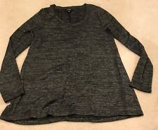 Jones New York Womens Shirt Top Size Sz M Grey Heather Gray Long Sleeve