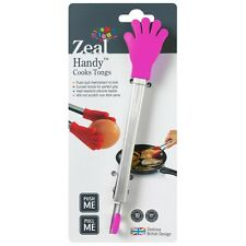 """Zeal 7"""" Stainless Steel & Silicone Handy Cooks Tongs - Red Pink Green or Purple"""