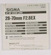 PRL) SIGMA AF MF ZOOM LENS 28-70 mm F2.8EX MANUALE ISTRUZIONI INSTRUCTION MANUAL
