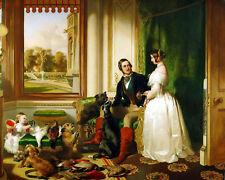 Queen Victoria & Price Albert In Windsor Castle Painting Real Canvas Art Print